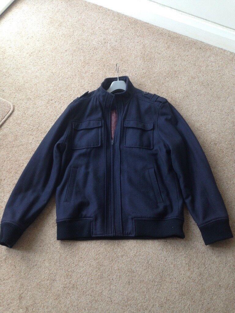 Mens Jacket Coat wool blend Navy Blue XL hardly worn