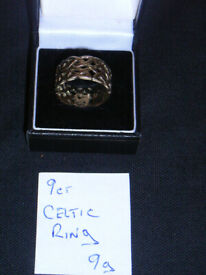 9ct Gold Celtic ring size u , 9g