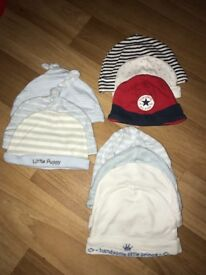 10 Baby boys hats 0-6 months