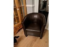 Brown Tub Faux leather Chair