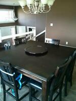 Espresso dining table and 6 chairs