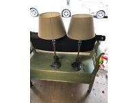 2 Bedside/Sideboard Lamps with vintage effect for sale