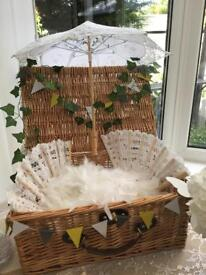 2x feather boas,2x wooden vintage fans and a wooden vintage umbrella used for wedding photo props