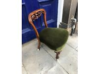 Nursing /Bedroom low chair - Green velvet upholstery