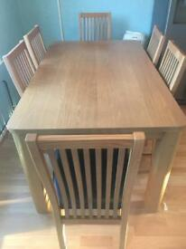Wood Dining Table and 6 Leather Chairs