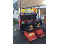 Ridge Racer 2 Full Size Sit Down Dual/Twin Arcade Cabinet Machine - Spares or Repairs