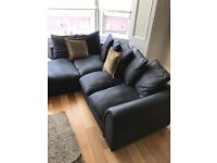 Black Suede Effect Corner Suite/sofa/couch