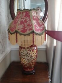 VICTORIAN STYLE HANDMADE LAMPSHADE WINE / GOLD BROCADE 16 INCH(REDUCED)
