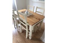 Cream table with 6 chairs