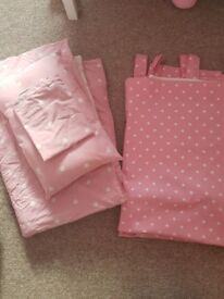 Pale Pink and White Polka Dot Girls Curtain and Bedroom Set