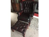 Chesterfield Queen Chair and stool