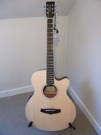 Tanglewood TW1 Super Folk cutaway Satin finished electro acoustic guitar.