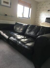 Black leather MultiYork three seater sofa