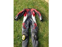 Frank Thomas red motorbike leathers size uk 40