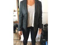 WHISTLES Black Leather Jacket, size 10