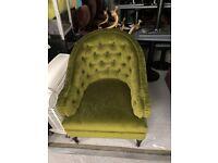 Velvet green armchair