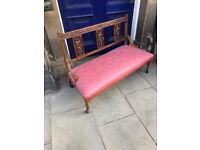 2 seater mahogany hall settee . Good quality and in good condition . Free Local Delivery