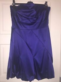 Blue Satin Coast Bandeau Dress Size 14