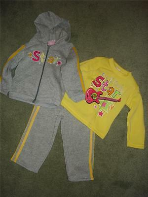 NWT Mon Petit 3 pc ROCK STAR Fleece Outfit Set Pants Hoodie Jacket Girls 12 mo (Rockstar Girl Outfit)
