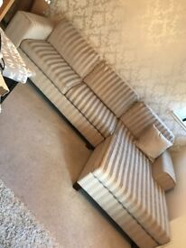 Cream and beige striped chaise sofa & 2 rollback armchairs