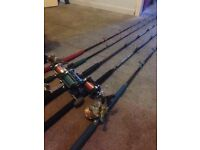 Various freshwater, saltwater & flyfishing rods, reels and tackle.