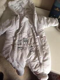 Baby snuggles 0-3 lined white suit