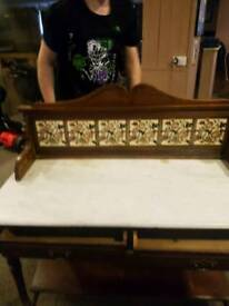 Victoian antique wash table. Tiled back and marble topped