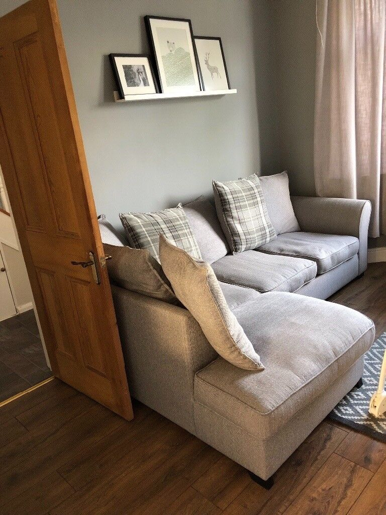 DFS L Corner Shaped Checked Grey Sofa Great Condition