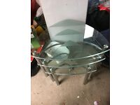 Nest of glass tables x 3
