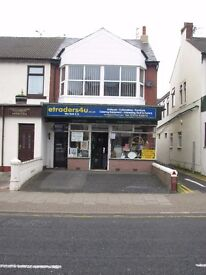 Property to rent or purchase in central Blackpool. Huge potential. Many uses. Flat & huge shop.