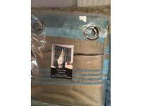 "Fully lined curtains- Teal & Taupe colour. 90x72"" (229x183 cm)."