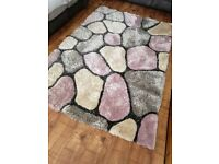 LARGE THICK SOFT 3D TEXTURED PILE PEBBLE STEPPING STONES NOBLE HOUSE RUG
