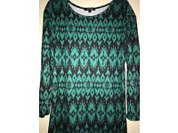 Size 10 green and black casual long dress
