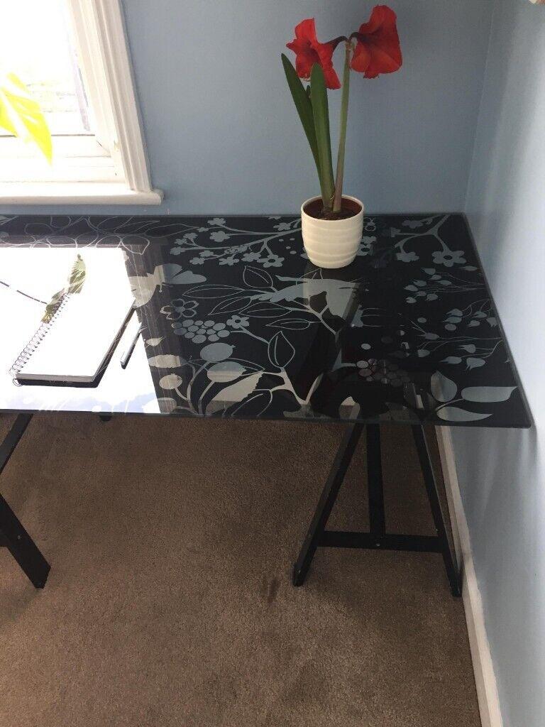 Ikea Glasholm Black Floral Glass Desk