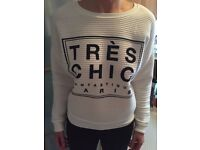 New Look Tres Chic French Slogan Print Jumper White NEW UK 10
