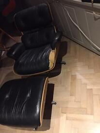 Eames style chair and ottoman armchair