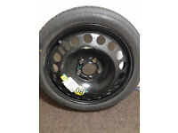space saver emergency spare wheel GM Vauxhall 5 holes new tyre