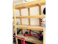 Solid wooden garage shelves