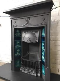 Stunning art nouveau antique fireplace cast iron fire FREE DELIVERY