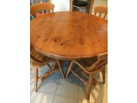 Dining/kitchen table and 4 chairs for sale - Round solid wood, pine farmhouse