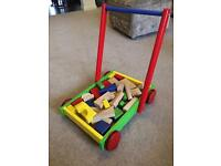 Wooden sturdy children's trolley baby walker with wooden blocks cost £30