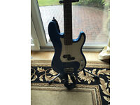 NICE BLUE BASS GUITAR (NEEDS 1 STRING) BARGAIN @ £50