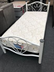 SINGLE METAL BED BASE FLORAL DESIGN £49-BRAND NEW