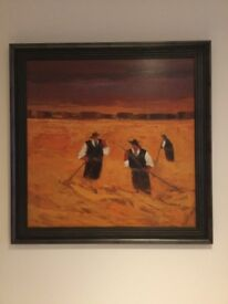 Francesco Gallo, Inis, Origional Oil/Acrylic Painting, Dark Wood Frames