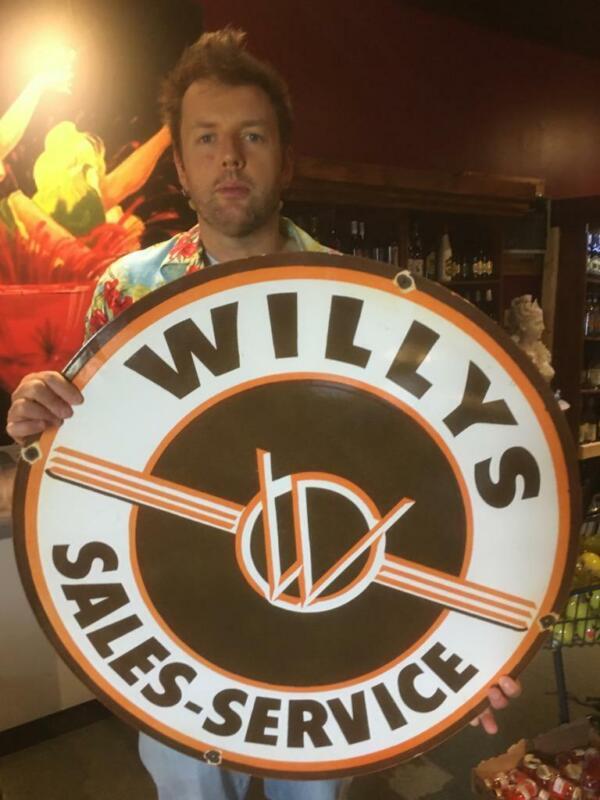 willys gas tire beer motor gasoline oil dealer porcelain sign MAKE AN OFFER!