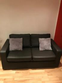 Sofa bed 2 seater faux leather