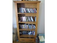Book case 4 x shelves and base drawer in natural wood oak
