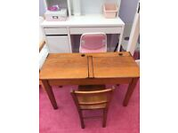 Child's vintage old oak double desk and chair