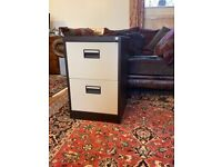 2 Drawer Metal Filing Cabinet Brown & Cream, with Key + 60 Suspension Files