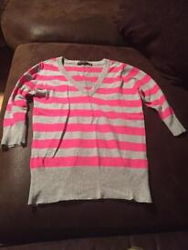 Grey and pink v neck jumper size 8